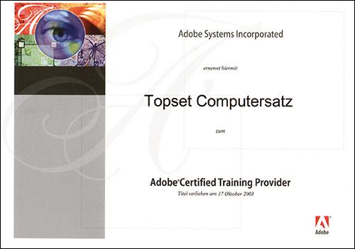 topset ist seit 2003 autorisierter Adobe-Trainingspartner.