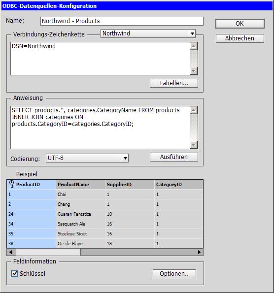 Das Import-Dialogfeld von EasyCatalog. Mit Standard-SQL-Befehlen holen Sie die gewünschten Daten aus der SQL-Datenbank ab.