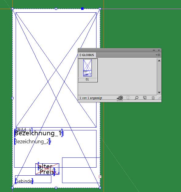 Der fertige Produktstil mit Platzhaltern in einer InDesign-Bibliothek.