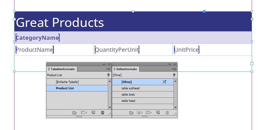 """Ein so genannter """"Produktstil"""": ein Tabellengerüst mit Platzhaltern, die an den blauen Klammern zu erkennen sind."""