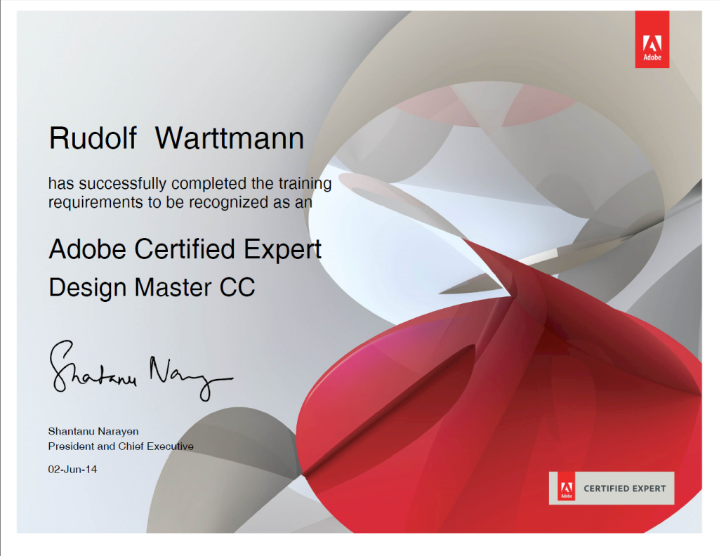 Rudi Warttmann ist für die Programme InDesign, InCopy, Illustrator, Photoshop und Acrobat als Trainer zertifiziert.